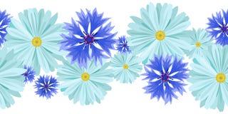 Vector o fundo sem emenda horizontal com luz - margaridas azuis e azul, centáureas lilás fotografia de stock