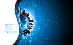 Vector o fundo urbano do conceito de uma comunicação da tecnologia global abstrata Imagens de Stock Royalty Free