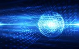 Vector o globo azul no fundo da tecnologia digital, ilustra??o abstrata ilustração royalty free