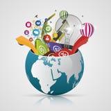 Vector o globo do mundo, mapa 3d criativo da terra Elementos modernos Mapa de mundo Foto de Stock Royalty Free