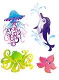Vector o golfinho, starfish, polvo, medusa ilustração royalty free