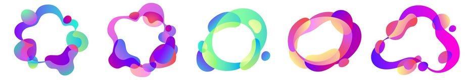 Vector o grupo abstrato de formas livres do efeito líquido em cores iridescentes do inclinação com linhas e formulários plásticos ilustração do vetor
