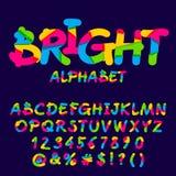 Vector o grupo brilhante de letras, de números e de símbolos Fotografia de Stock Royalty Free
