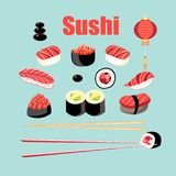 Vector o grupo brilhante de sushi e de rolos com peixes ilustração stock