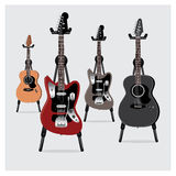 Vector o grupo da guitarra elétrica da ilustração & da guitarra acústica com suporte Imagem de Stock Royalty Free
