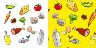 Vector o grupo do ícone do alimento e da bebida e o teste padrão sem emenda Imagens de Stock