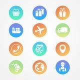 Vector o grupo do transporte, da logística e do ícone da carga Fotos de Stock Royalty Free