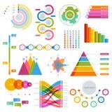 Vector o grupo grande de gráficos dos elementos do infographics coloridos para a exposição Foto de Stock Royalty Free