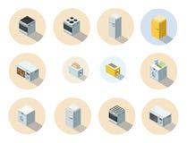 Vector o grupo isométrico de ícone dos aparelhos eletrodomésticos, design de interiores 3d liso Imagens de Stock Royalty Free