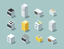 Vector o grupo isométrico de ícone dos aparelhos eletrodomésticos, design de interiores 3d liso Imagem de Stock Royalty Free
