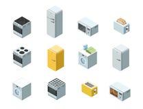 Vector o grupo isométrico de ícone dos aparelhos eletrodomésticos, design de interiores 3d liso Imagens de Stock