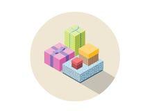 Vector o grupo isométrico de caixas de presente coloridas, presente liso do projeto 3D Foto de Stock Royalty Free