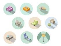 Vector o grupo isométrico de mobília moderna da sala de visitas, construtor home Foto de Stock