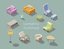 Vector o grupo isométrico de mobília moderna da sala de visitas, construtor home Fotografia de Stock Royalty Free
