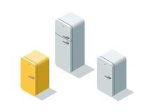 Vector o grupo isométrico de refrigeradores, refrigerador 3d liso Imagens de Stock