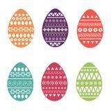 Vector o grupo liso de ovos da páscoa coloridos e ornamentado Projeto para cartões, matéria têxtil fresco e da mola, brochura, te Fotografia de Stock Royalty Free