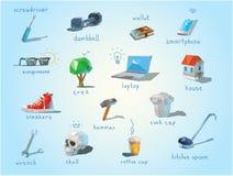 Vector o grupo poligonal de assuntos diferentes, dispositivos da casa da extremidade do trabalho Fotos de Stock