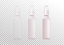 Vector o grupo realístico das ampolas de vidro com nível diferente de transparência Tubos de ensaio cosméticos para o óleo, líqui ilustração royalty free