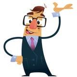 Vector o homem de negócio da ilustração com pres dos vidros do terno e do totó Imagens de Stock Royalty Free