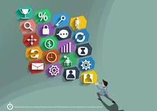Vector o homem de negócios com os ícones que mostram o poder do trabalho dos homens de negócios que são cometidos a um projeto li Foto de Stock Royalty Free