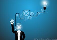 Vector o homem de negócios que conceitua ideias criativas com projeto liso das rodas denteadas do cérebro do bulbo Imagens de Stock Royalty Free