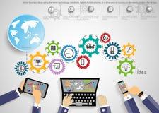Vector o homem de negócios usando a tecnologia moderna, tarefa do projetor, leveraging, negócio global das comunicações ao sucess Imagens de Stock Royalty Free