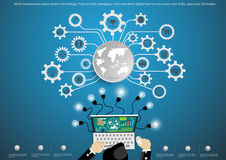 Vector o homem de negócios usando a tecnologia moderna, tarefa do projetor, leveraging, negócio global das comunicações ao sucess Foto de Stock Royalty Free