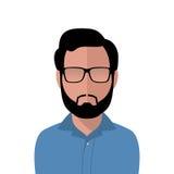 Vector o homem do cabelo escuro em uma camisa azul Imagens de Stock Royalty Free