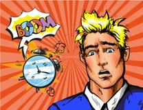 Vector o homem do pop art que acorda tarde na manhã Imagem de Stock