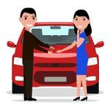 Vector o homem dos desenhos animados que dá chaves do carro a uma mulher Imagens de Stock