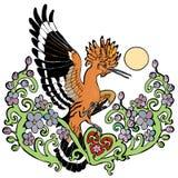 Vector o hoopoe da ilustração no desenho colorido do ramo da flor da flor ilustração do vetor