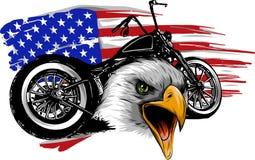 Vector o illustraton uma motocicleta com a águia principal e a bandeira americana ilustração do vetor