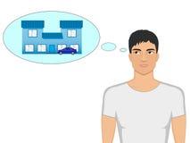 Vector o indivíduo dos desenhos animados que sonha de uma casa e de um carro Fotografia de Stock Royalty Free