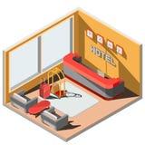 Vector o interior isométrico da ilustração 3D da entrada do hotel com recepção Imagens de Stock