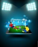 Vector o jogador de futebol que golpeia a bola no estádio ilustração royalty free