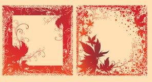 Vector o jogo de frames pretos com folhas do outono. Fotos de Stock Royalty Free
