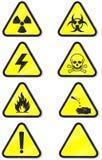 Vector o jogo de sinais de aviso químicos. Fotografia de Stock Royalty Free