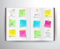 Vector o livro com cartas do desenho e representa graficamente o negócio Imagem de Stock