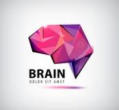 Vector o logotipo de cristal do cérebro, ícone, ilustração Fotografia de Stock Royalty Free