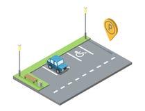 Vector o lugar de estacionamento com banco e trashcan, geotag do pino do estacionamento Imagem de Stock Royalty Free