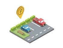 Vector o lugar de estacionamento com banco e trashcan, geotag do pino do estacionamento Fotografia de Stock Royalty Free