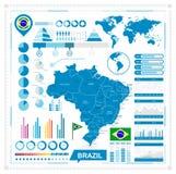 Vector o mapa de Brasil e da coleção infographic dos elementos Foto de Stock Royalty Free