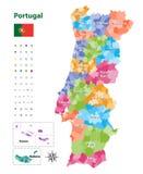 Vector o mapa de distritos e de regiões autônomas de Portugal, subdividido nas municipalidades Cada região tem possuir a paleta d ilustração do vetor