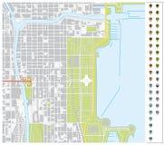 Vector o mapa de ruas de Chicago do centro com ponteiros e infr do pino imagem de stock