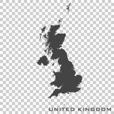 Vector o mapa do ícone de Reino Unido no fundo transparente ilustração royalty free