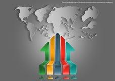 Vector o mapa do mundo da viagem de negócios e de setas do projeto liso do ícone de uma comunicação, da troca, do mercado e do ne Fotos de Stock