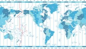 Vector o mapa do mundo das zonas de horas locais centradas por América Fotos de Stock