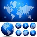 Vector o mapa e o globo pontilhados do mundo Fotografia de Stock Royalty Free