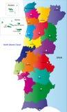 Vector o mapa Portugal Imagens de Stock