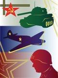 Vector o martelo e a foice da bandeira dos aviões do tanque do perfil Ilustração Stock